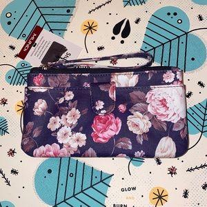 Mundi Floral Wallet/Purse/Wristlet: 3 Top Zipper